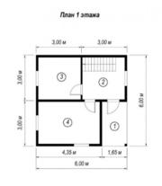 Дом сруб из бруса проект Случь 6х6 м - foto 1